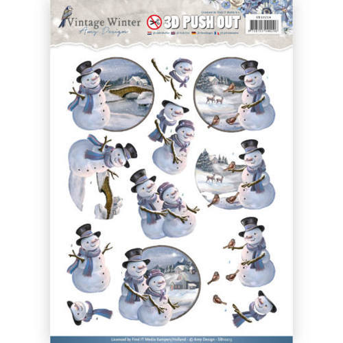 SB10214 Pushout- Amy Design - Vintage Winter - Snowmen