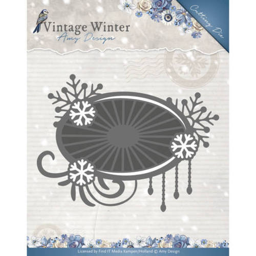 ADD10124 Die - Amy Design - Vintage Winter - Snowflake Swirl Label