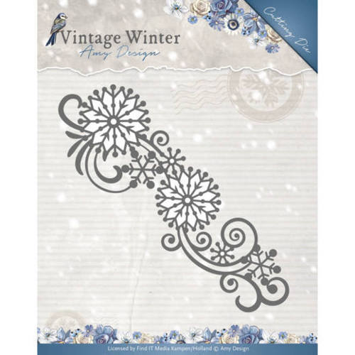 ADD10123 Die - Amy Design - Vintage Winter - Snowflake Swirl Border
