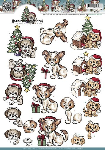 CD10561 3D Knipvel - Yvonne Creations - Christmas Puppies