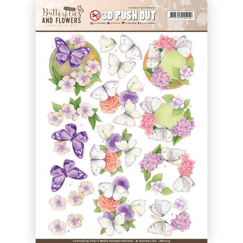 SB10219 3D Push Out - Jeanine's Art - Classic Butterflies and Flowers - White Butterflies