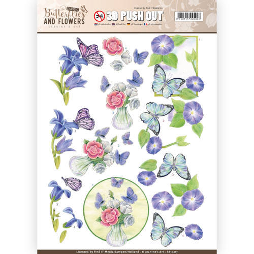 SB10217 3D Push Out - Jeanine's Art - Classic Butterflies and Flowers - Butterflies on blue flowers