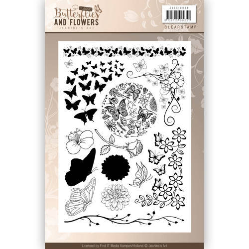 JACS10008 Clearstamps - Jeanines Art - Classic Butterflies and Flowers