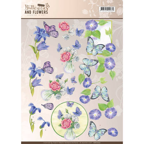 CD11000 3D Knipvel - Jeanine's Art - Classic Butterflies and Flowers - Blue Flowers