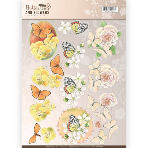 CD11001 3D Knipvel - Jeanine's Art - Classic Butterflies and Flowers - Yellow Flowers