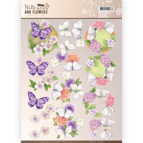 CD11002 3D Knipvel - Jeanine's Art - Classic Butterflies and Flowers - Purple Flowers