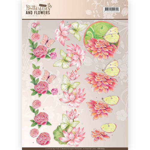 CD11003 3D Knipvel - Jeanine's Art - Classic Butterflies and Flowers - Pink Flowers