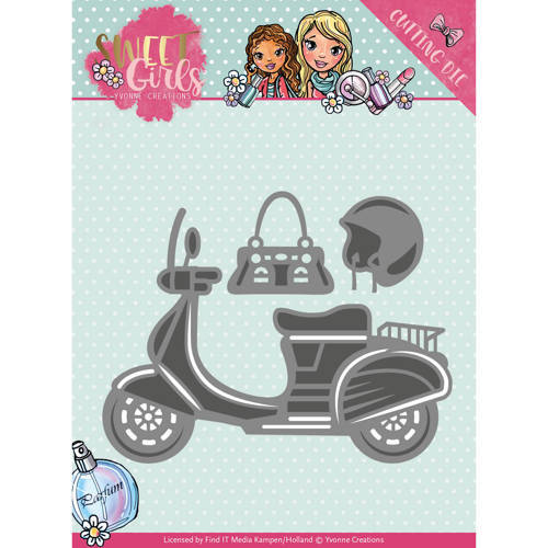 YCD10120 Die - Yvonne Creations - Sweet Girls - Scooter