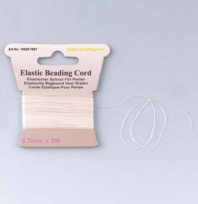 10829-7001 Elastic beading cord. White. 0.7mmx5m/header card