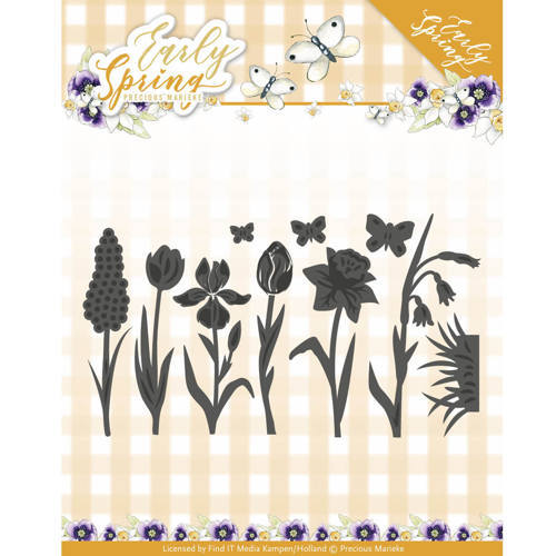 PM10115 Dies - Precious Marieke - Early Spring - Spring Flowers and Butterfly Dies