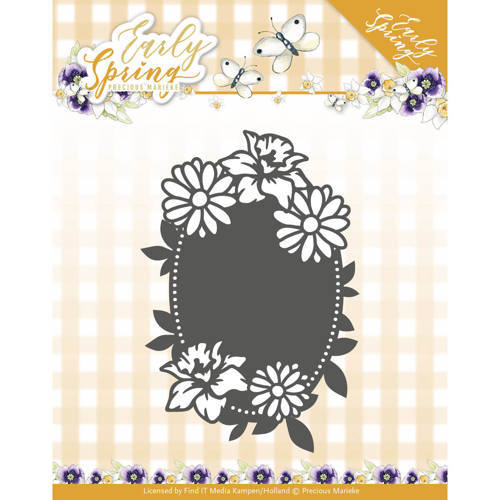 PM10114 Dies - Precious Marieke - Early Spring - Spring Flowers Oval label