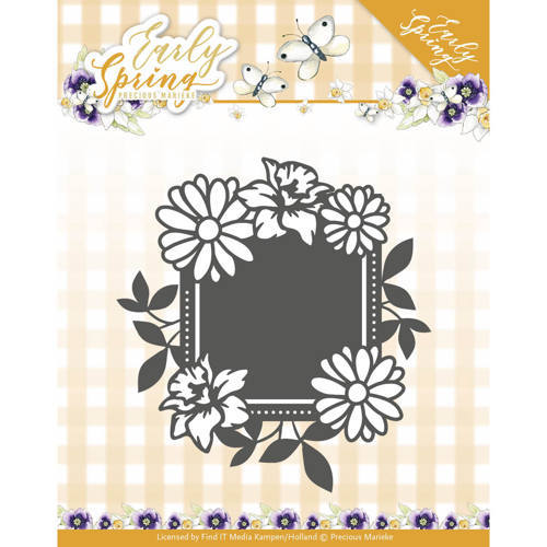 PM10113 Dies - Precious Marieke - Early Spring - Spring Flowers Square label