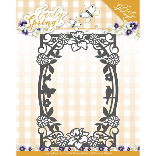 PM10111 Dies - Precious Marieke - Early Spring - Spring Flowers Rectangle Frame