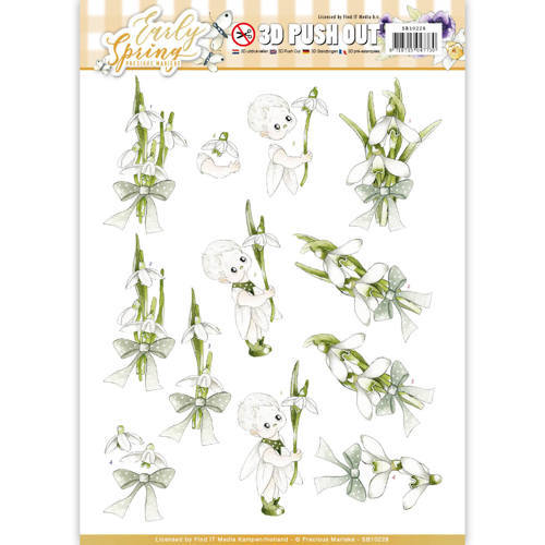 SB10228 3D Pushout - Precious Marieke - Early Spring - Early Snowdrops