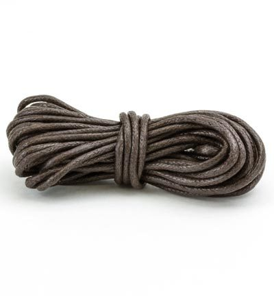 12368-6810 Waxed Cotton Cord, round, 2mm, Brown, 5m