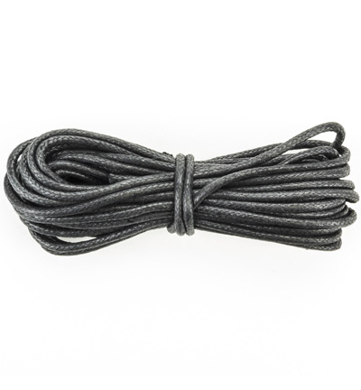 12368-6802 Waxed Cotton Cord, round, 2mm, Black, 5m