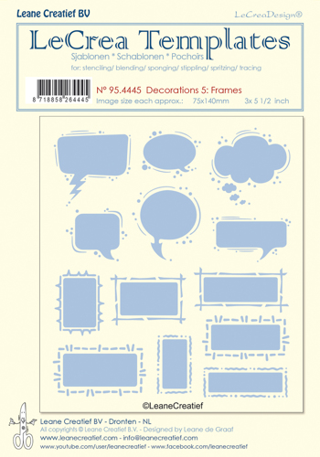 95.4445 Stencil decorations 5. Frames, size each design 75x140mm
