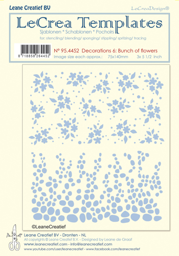 95.4452 Stencil decorations 6. Bunch of flowers, size each design 75x140mm