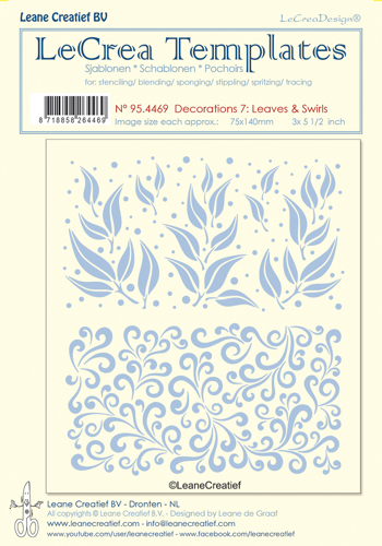 95.4469 Stencil decorations 7. Leaves & swirls, size each design 75x140mm