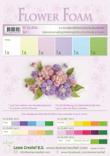 25.4056 Flower foam ass Set 1, 6 sheets A4 0.8mm. pastel colours incl. instructions.