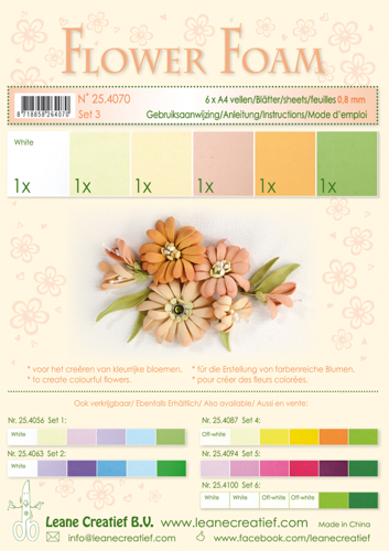 25.4070 Flower foam assortment Set 3, 6 sheets A4 0.8mm. salmon colours incl. instructions.