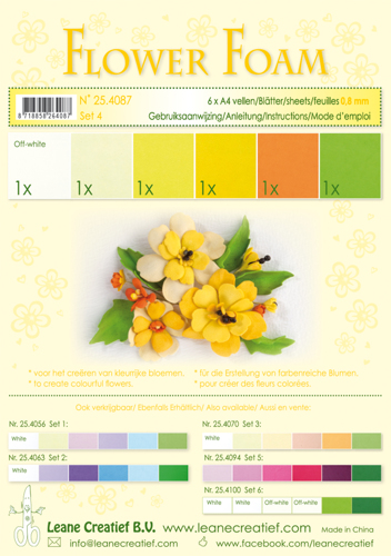 25.4087 Flower foam ass Set 4, 6 sheets A4 0.8mm. yellow colours incl. instructions.