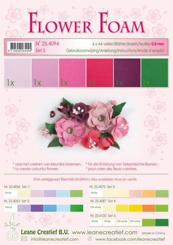 25.4094 Flower foam ass Set 5, 6 sheets A4 0.8mm. red-pink colours incl. instructions.