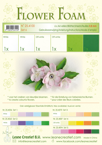 25.4100 Flower foam ass Set 6, 6 sheets A4 0.8mm. white-green colours incl. instructions.