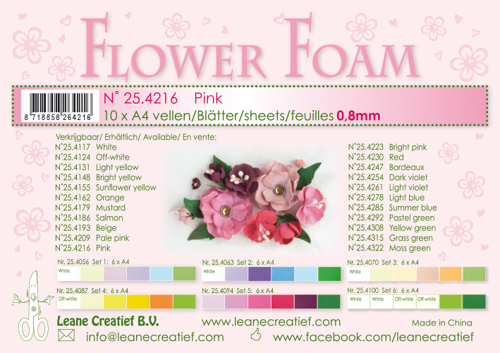 25.4216 10 Flower foam sheets A4 0.8mm. Pink