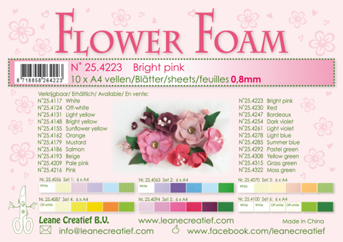 25.4223 10 Flower foam sheets A4 0.8mm. Bright pink