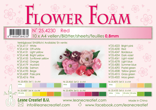 25.4230 10 Flower foam sheets A4 0.8mm. Red
