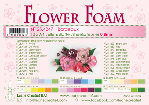 25.4247 10 Flower foam sheets A4 0.8mm. Bordeaux