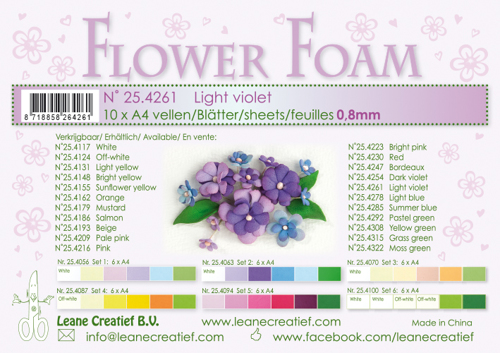 25.4261 10 Flower foam sheets A4 0.8mm. Light violet