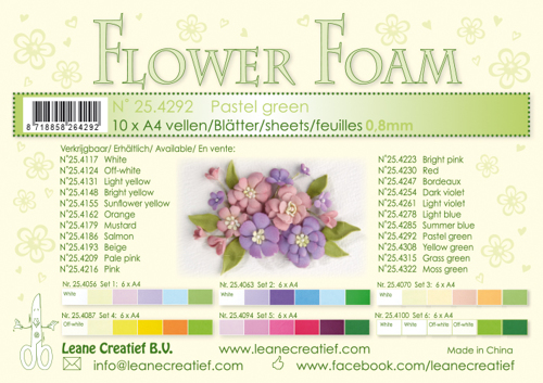 25.4292 10 Flower foam sheets A4 0.8mm. Pastel green