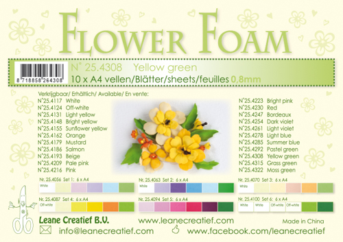 25.4308 10 Flower foam sheets A4 0.8mm. Yellow green