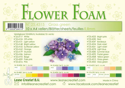 25.4315 10 Flower foam sheets A4 0.8mm. Grass green