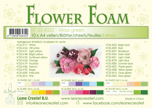 25.4322 10 Flower foam sheets A4 0.8mm. Moss green