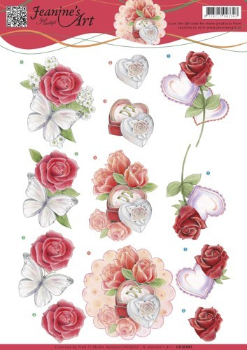 CD10981 3D knipvel Jeanine's Art - Roses and Hearts