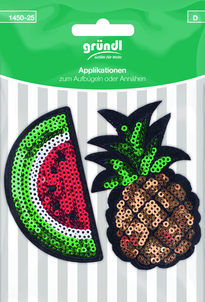 1450-25 (D) Applicatie Watermeloen+Ananas met pailletten