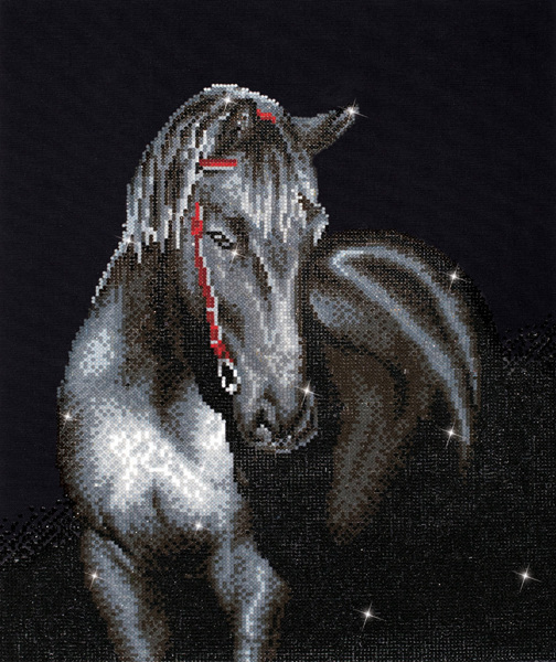 DD10.012 DIAMOND DOTZ® - 42x53cm - Midnight Stallion