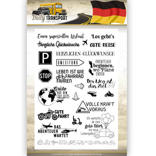 ADCS10038 Clearstamp Text - Amy Design - Daily Transport Deutsch