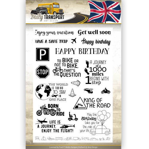ADCS10037 Clearstamp Text - Amy Design - Daily Transport English
