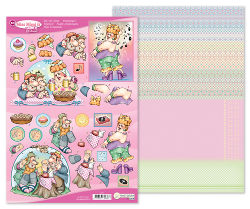 9.0071 MRJ 3D Die cut sheet Miss Mimi & friends + 1 potpourri sheet
