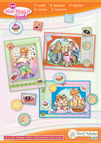 9.0097 MRJ set Miss Mimi & friends A5 Set for 3 complete cards