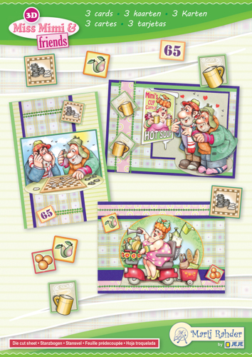 9.0098 MRJ set Miss Mimi & friends A5 Set for 3 complete cards