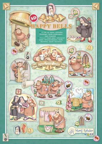9.0105 MRJ set Happy Bells 3x 3D Die cut A4 sheet + 3x Potpourri sheets