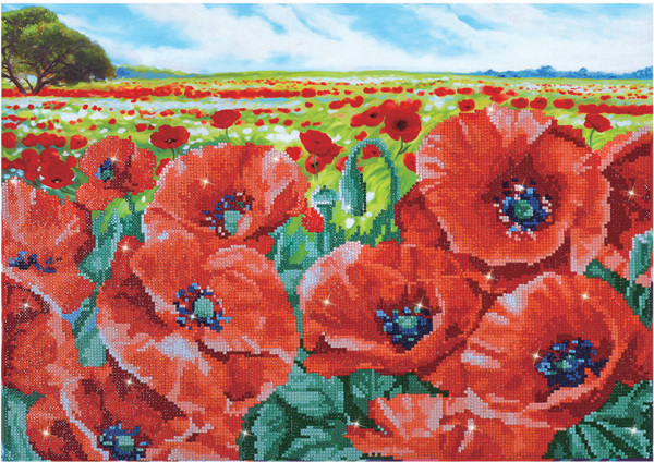 DD10.013 Diamond Dotz - 60 x 42cm - Red Poppy Field