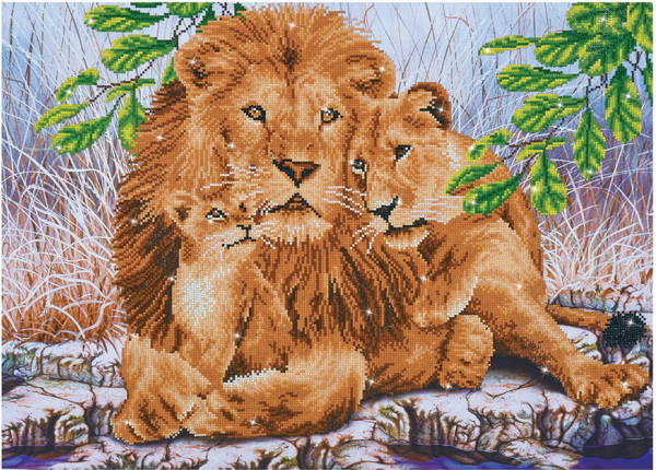 DD13.017 Diamond Dotz - 76.5 x 55cm - Lion Family
