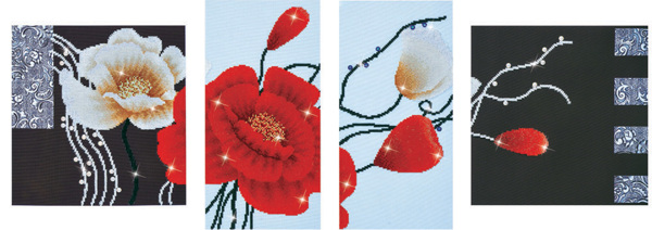 DD14.002 Diamond Dotz - 142 x 50cm - Art Deco Poppies