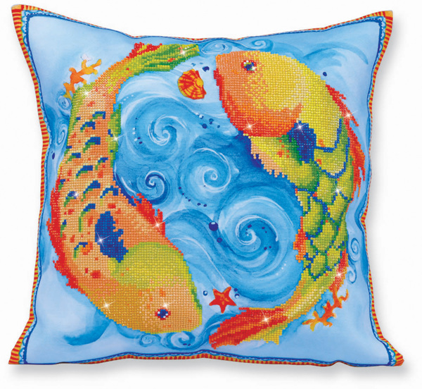 DD16.002 Diamond Dotz® - 44 x 44cm - Pillow - Dancing Fish